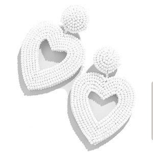 White beaded heart earrings